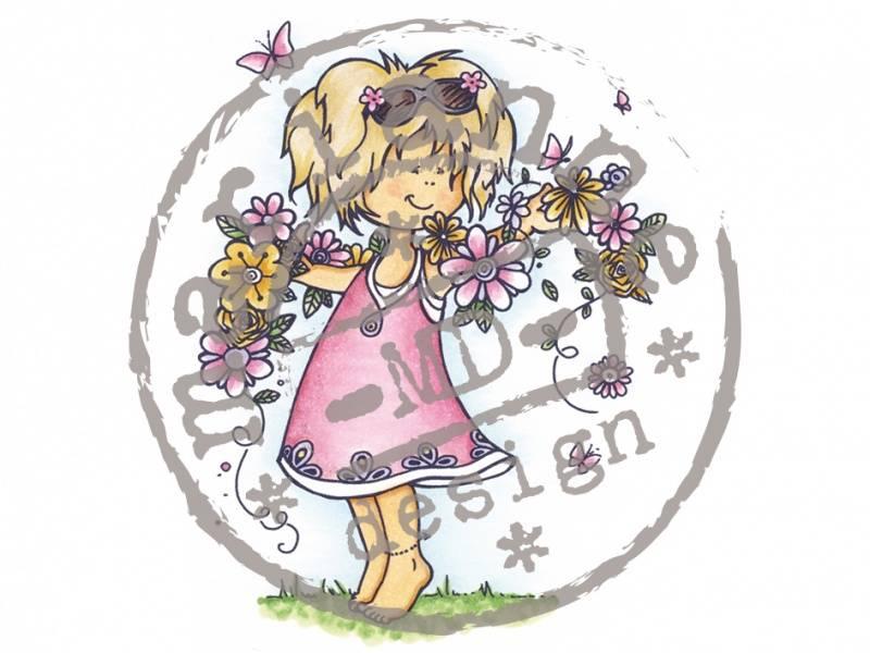 Stempelsett - Jente m/blomster