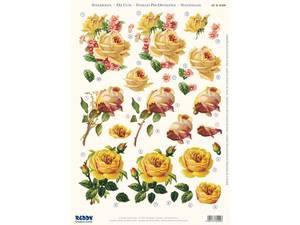 Bilde av 3D ark, utst. gule roser,