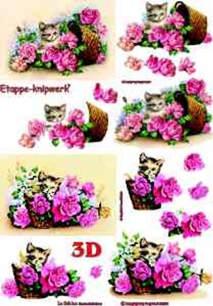 3D ark - Katt og roser